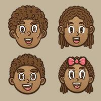 happy black kids and adult character emoticon illustration vector