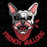 ilustrador de esport del logotipo de la cabeza de bulldog francés vector