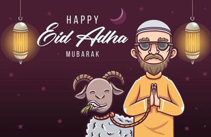 happy eid al adha mubarak illustration vector