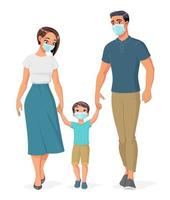 Happy family in medical masks holding hands and walking cartoon vector illustration