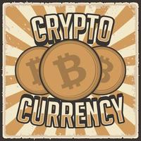 Retro vintage illustration vector graphic of Cryptocurrency Bitcoint fit for wood poster or signage
