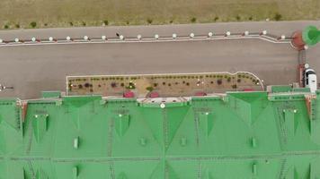 Embankment Bruges in Yoshkar-Ola. Russia, Republic of Mari El. Aerial summertime day video