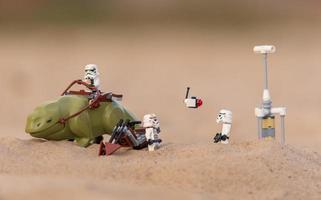 Warsaw, Poland, April, 2019 - Lego Star Wars mini-figures on desert photo
