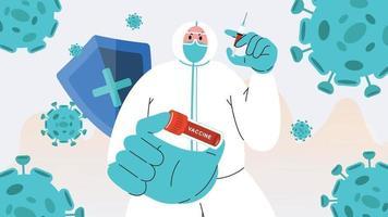 Pandemic Corona Vaccine flat illustration vector