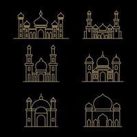 Mosque Islamic symbols for Ramadan Kareem. Mosque modern building. Line art style vector