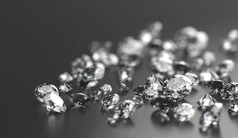Grupo de diamantes colocado sobre fondo negro con renderizado 3d de enfoque suave foto