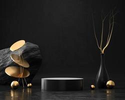 Abstract Elegance Luxury Golden stage podium 3d rendering photo