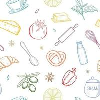 Seamless pattern with kitchen hand drawn sketch utensils, fruits and vegetables. Vector illustration.