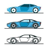 Blue Car in Three Different Design Styles vector