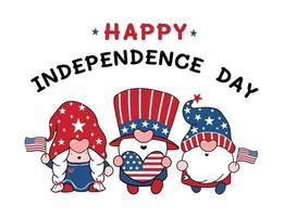 Cute Three America Gnomes 4th July Summer theme cartoon doodle vector illustration