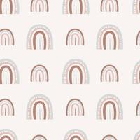 Boho rainbows. Seamless rainbow pattern with dots and lines of two sizes on a light background vector
