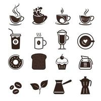 Icon set of cafe and coffee production collection vector symbol in trendy flat style