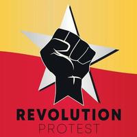 REVOLUTION HAND AND STAR SYMBOL PROTEST POWER OF FREEDOM POSTER vector