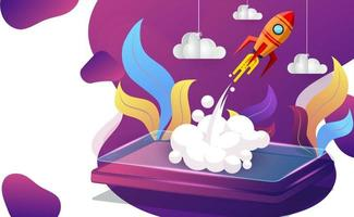 Launch of startup of a business project concept vector