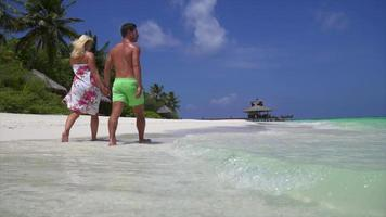 A couple walks on the beach holding hands at a tropical island resort hotel. video