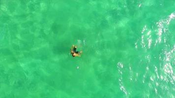 vista aérea de un hombre nadando en un lago verde. video