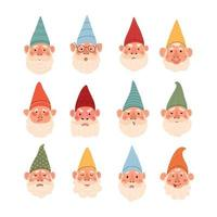 Vector modern set with cute illustrations of garden gnomes with different emotions. Use it as element for design card, poster, chat messenger cartoon emotes, Social Media post, children game design