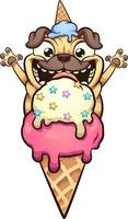 Happy pug dog about to eat ice cream cone vector