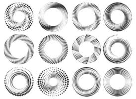 Round halftone frames. vector