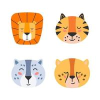 Cute wild cats faces. Lion, tiger, cheetah, leopard. vector