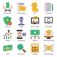 Business and Finance Flat icon Set vector