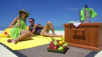 A man and woman have a picnic on a tropical island beach. video