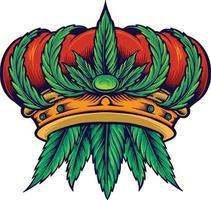 Cannabis Crown Hemp Mascot vector