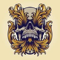 Angry Skull Victorian Gold Ornaments Halloween Illustration vector