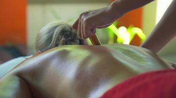 una mujer recibe un masaje en un spa. video