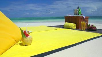 A picnic on a tropical island beach. video