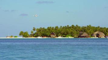 vista de un hidroavión aterrizando en una isla tropical en las maldivas. video
