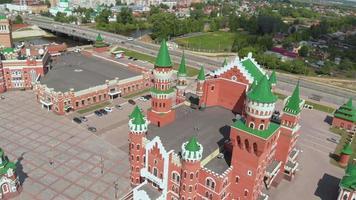 Embankment Bruges in Yoshkar-Ola. Russia, Republic of Mari El. Aerial summertime, cloudy day video