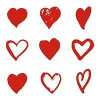 Stylized texture red hearts. Textured inks. Hand drawn doodle icon. vector