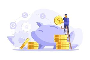 Businessman on ladder putting a coin into a piggy bank. Save money concept. Manage money and finance analytics. Vector flatillustration. Can use for landing page, web, mobile, app, banner, flyer