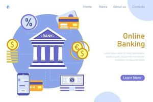 Online banking and accounting  template landing page. Infographic for using payment on mobile smartphone, credit card, currency exchange, deposit on bank. Vector flat illustration.
