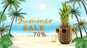 Summer banner template with Tropical pineapple and leaves. vector illustration