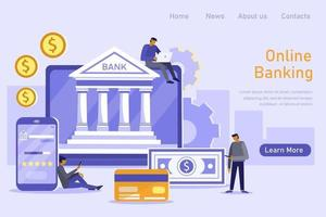 Mobile banking and online payment concept. People using laptop and mobile smartphone for online banking and accounting. Vector flat illustration. Template for landing page
