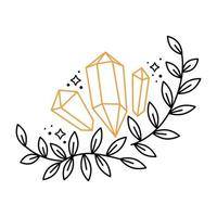 Floral boho outline composition wreath with gemstones, stars, branch leaves. Celestial graphic elements with plants. Mystical astrology vector doodle illustration. Design for card, poster, invitation