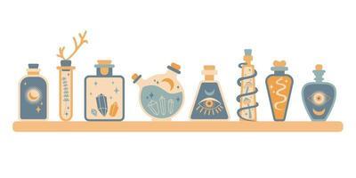 Set of bottle silhouette with magic elixir, poison with sun, moon, snake, mushroom, eye, gem. Boho potion bottle silhouette. Occult vector illustration. Alchemy design element. Esoteric mystic poster