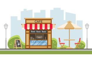 Park street cafe with umbrella, table, chair, terrace, skyscrapers, lantern Urban spring summer landscape. Coffe in outdoor. Park with outside cafe. Flat cartoon vector illustration