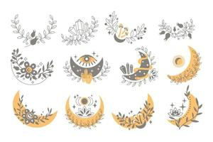 Magic boho set of crescent moon with leaves, stars, flower, gemstone, snake, eye, mushroom, berry. Vector flat illustration. Decorative boho elements for tattoo, greeting cards, invitations, wedding
