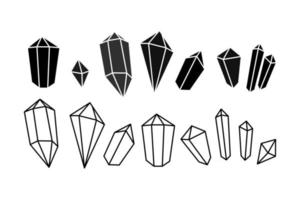 Hand drawn icon set of crystal gem silhouette in doodle style. Vector outline illustration. Geometric shapes and mystical symbol. Trendy hipster design for print, card, background, web, jewelry