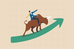 Stock market bull market, financial asset value and price rising up, investor and trader gain more profit concept, confident businessman investor riding bull running on rising up upward green graph. vector