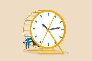 Agotado y fatigado por el trabajo de rutina, probado o agotamiento por exceso de trabajo, concepto de problema de gestión del tiempo, hombre de negocios agotado y probado se acuesta en una carrera de ratas de hámster con el tiempo corriendo el reloj. vector