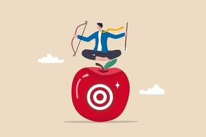 Concentration and focus on business goal or target business plan for winning strategy concept businessman archery holding arrow and bow meditate and focus on bullseye target at the center of apple vector