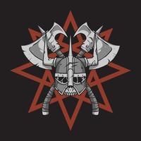 Viking helmet over star background vector