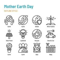 mother earth day in outline icon and symbol set vector