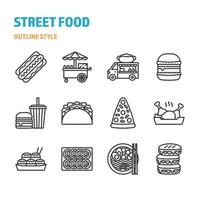 Street Food in outline icon and symbol set vector