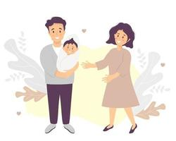 Family life concept Happy husband holds a smiling newborn son in his arms A woman-wife stands next vector