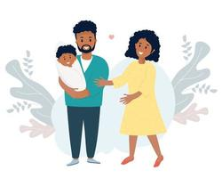 happy black husband holds newborn son in his arms A woman-wife next to him vector